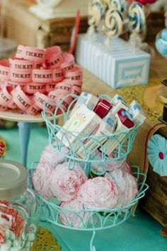 candy cigarettes, cupcakes and tickets at circus wedding