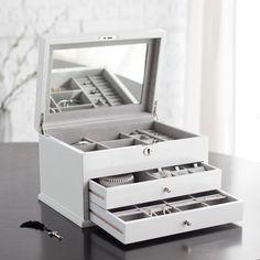 Mod High Gloss White Jewelry Box - 13W x 8H in. - Womens Jewelry Boxes at Jewelry Boxes
