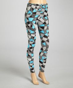Loving this Black & Turquoise Geo Leggings on #zulily! #zulilyfinds