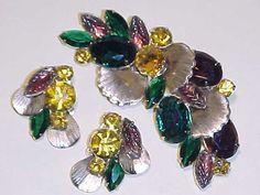 Vintage Verified D&E Juliana Brooch and Earrings by darsjewelrybox