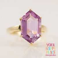 When you picture your happy place, is it pretty in purple? Because ours is, especially when we see this stunning amethyst ring! || 6.00ct Hexagonal Brazilian Orchid Amethyst Solitaire 10k Yellow Gold Ring