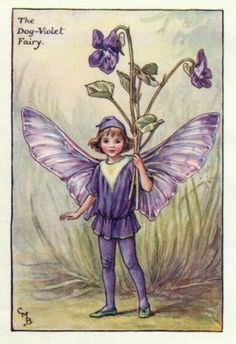 Dog-Violet Flower Fairy Print c.1927 Fairies by Cicely Mary Barker