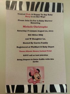 DIY Minnie Mouse Baby Shower Invitations
