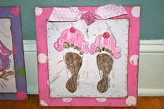 Ice Cream Cone Footprint Plaque - paintingmehappy