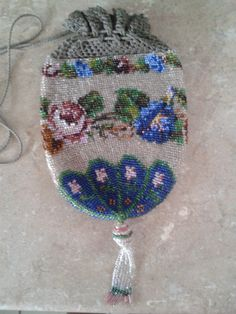 Antique beautiful glass seed bead handbag. stunning detailed bag with flower bead work. bead tassle to bottom of this pretty bag . there is some crochet work which has come undone but not noticeable with bag pulled together. | eBay!