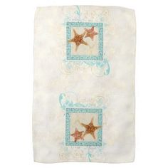 Starfish Sea Shells Ocean Greek Key Pattern Beach Hand Towels