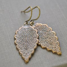 Brass Leaf Earrings Bohemian Style Earrings Ornate by leprintemps, $18.00