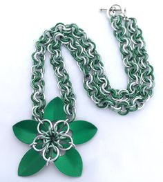 Bright Green Anodised Aluminium Scale Flower Pendant Necklace