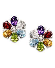 Sterling Silver Earrings, Multistone Flower Stud Earrings - Earrings - Jewelry & Watches - Macy's