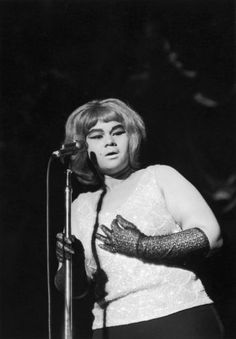 Etta James performed in a simply elegant tank-top and elbow length gloves.
