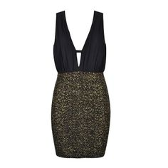 Mini dress with chiffon ruched top and metallic stretch fit skirt. WANT IT!