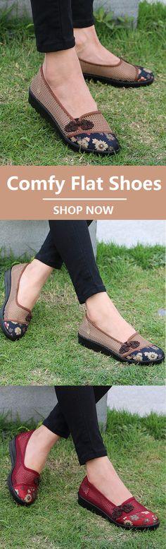 c7f5c5eafe1 Flower Chineseknot Vintage Retro Mesh Breathable Slip On Flat Shoes
