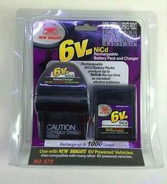 New Bright 670 6 Volt NiCd Rechargeable Battery Pack With Battery Charger New
