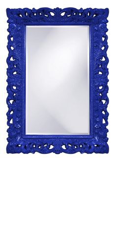 Wall Mirrors, Royal Blue High Gloss Lacquer Baroque Mirror, so beautiful, one of over 3,000 limited production interior design inspirations inc, furniture, lighting, mirrors, tabletop accents and gift ideas to enjoy repin and share at InStyle Decor Beverly Hills Hollywood Luxury Home Decor enjoy & happy pinning