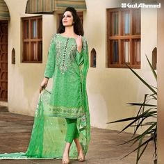 The Gul Ahmed Spring Summer Collection 2016 has arrived in market. The designs which are represented by them have stylish and impressive look Spring Summer 2016, Summer Wear, Pakistani Dresses, Spring Dresses, Summer Collection, Chiffon, Stylish, My Style, Womens Fashion