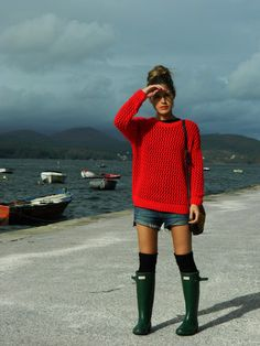 rain boots   knees highs   jean short   simple sweater