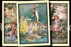 Fabulous illustrations - 2,5x3,5 inch ATC, ACEO cards, Digital Collage Sheet for Scrapbooking