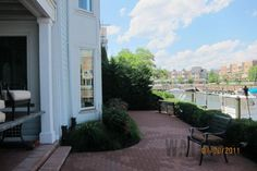 Patio with marina views