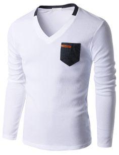 Doublju Men's Long Sleeve V-neck T-shirt with Contrast pocket (KMTTL0131) #doublju
