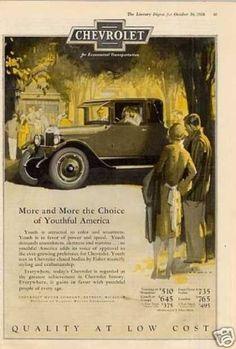 """Chevrolet Car Color Ad """"More and More... (1926)"""