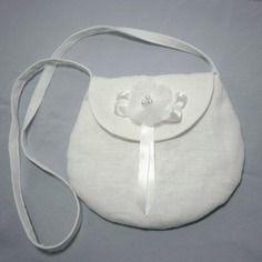 Petit sac enfant 3/6 ans lin blanc demoiselle d'honneur mariage baptême communion