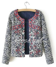 Vintage Scoop Neck Long Sleeve Embroidered Blue And White Print Women's Jacket