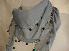 Gray Cotton Scarf  Headband  Bandana by mmelike on Etsy, $14.00
