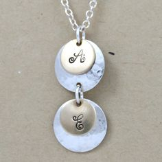 Personalized necklace, Hand stamped necklace, Custom jewelry for Mom or Grandma, Mixed metal, Sterling silver, gold filled, Initial jewelry. $44.00, via Etsy.