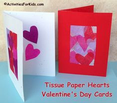 Valentine Cards for Kids to make.  Colorful tissue paper hearts make for a pretty Valentine card.