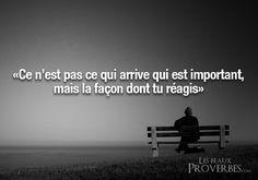 Het is niet belangrijk wat er gebeurt, maar hoe je hierop reageert. Les Beaux Proverbes – Proverbes, citations et pensées positives »