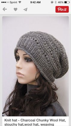 b7ad5c45ea666 Hand Knit hat woman hat winter hat Charcoal Wool Hat dark grey slouchy hat - ready to ship