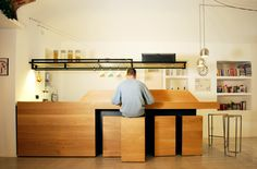 Oak and black kitchen | by a3lier, solid oak and black steel structure, stools included