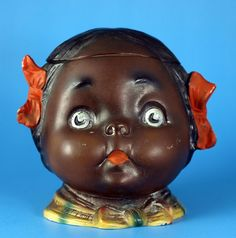 Bisque child figural humidor black girl with hair bows - Found on Ruby Lane