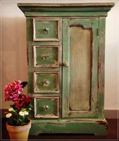 Love the color-A beautiful wardrobe finished in Chalk Paint® decorative paint by Annie Sloan in Old Ochre and a mix of Antibes Green and Louis Blue. Craqueleur and Dark Wax helped give this piece an aged and distressed finish Chalk Paint Furniture, Hand Painted Furniture, Distressed Furniture, Repurposed Furniture, Shabby Chic Furniture, Furniture Projects, Rustic Furniture, Furniture Makeover, Vintage Furniture