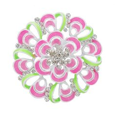 Fashion Latest Cheap Women Pink Flower Rhinestone Enamel Brooch Pins