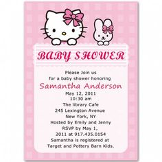hello kitty baby | hello kitty and rabbit baby girl shower invitations bs072