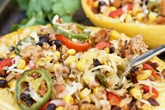 These super easy Mexican Spaghetti Squash Boats are loaded with flavor and have quite a kick! They are healthy and packed with veggies and lean protein! Mexican Spaghetti, Spaghetti Squash Boat, Spaghetti Squash Recipes, Clean Recipes, Veggie Recipes, Cooking Recipes, Healthy Recipes, Healthy Meals, Keto Recipes