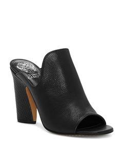e4496c320 VINCE CAMUTO Women s Gerrty Peep Toe High-Heel Leather Mules