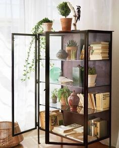 A display case presents the inner-self of the creator. With a look at the display case, you can know the person inside. There are DIY display case ideas. Glass Front Cabinets, Ikea Glass Cabinet, Glass Display Cabinets, Glass Bookcase, Book Cabinet, Ikea China Cabinet, Curio Cabinet Decor, Black Display Cabinet, Living Room Display Cabinet