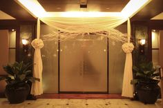 Your entrance should make a statement. Dress up the doorway with fabric and other elements to let up the guests' arrival experience. Got Party, Doorway, Warm Weather, Entrance, Dress Up, Winter, Fabric, Ideas, Style