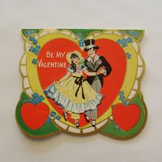 Vintage Valentine's Day Card boy in top hat and tuxedo and girl yellow bonnet and dress