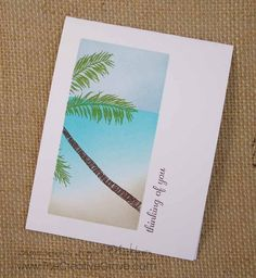 Create a tropical scene on a one layer card using masking and sponging techniques today. Blog - http://www.thecreativegrove.com Online Classes - Http://www.c...