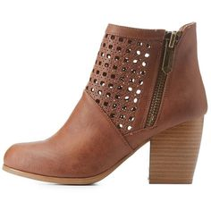 Qupid Laser Cut-Out Chunky Heel Booties (590 HNL) ❤ liked on Polyvore featuring shoes, boots, ankle booties, cognac, chunky heel ankle boots, chunky heel bootie, cognac ankle boots, chunky heel booties and short ankle boots