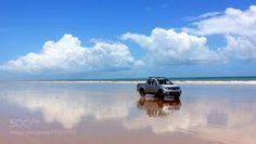 Driving in the sky blue - Praia do Miai de Baixo by...  Nature Landscape Beach Water Blue Car Brasil Brazil Sky Clouds Reflections Peace Alagoas Transportat