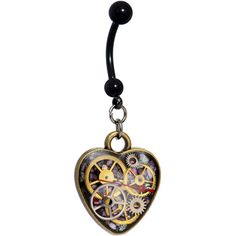 Handmade Steampunk Intricate Inlay Watch Gear Heart Dangle Belly Ring | Body Candy Body Jewelry