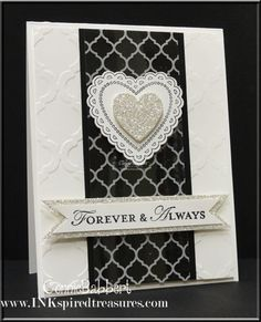 Hearts a Flutter & its framelits, Loving Thoughts, Quatrefancy dsp, Modern Mosaic embossing folder, & Silver Glimmer Paper.
