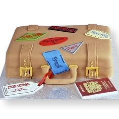 Bon Voyage Cake: The shape of a suitcase.  Also great for Graduation, Retirement, or Going Away Partys.