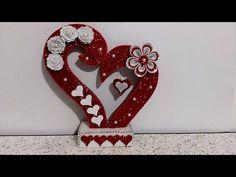 Diy Valentines Day Wreath, Valentine Love Cards, Valentine Crafts, Diy Crafts For Gifts, Diy Arts And Crafts, Felt Crafts, Paper Crafts, Foam Sheet Crafts, Diwali Diy
