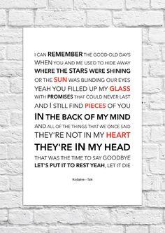 Kodaline - Talk - Lyrical Song Art Poster