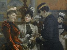 BEROUD Louis,1889 - Le Dôme Central de la Galerie des Machines lors de l'Exposition de 1889 - Detail 02 - Deux femmes élégantes présentent au contrôleur leur billet d'entrée à l'Exposition de Paris - Two elegant women give ticket-puncher her ticket to the Exhibition in Paris -